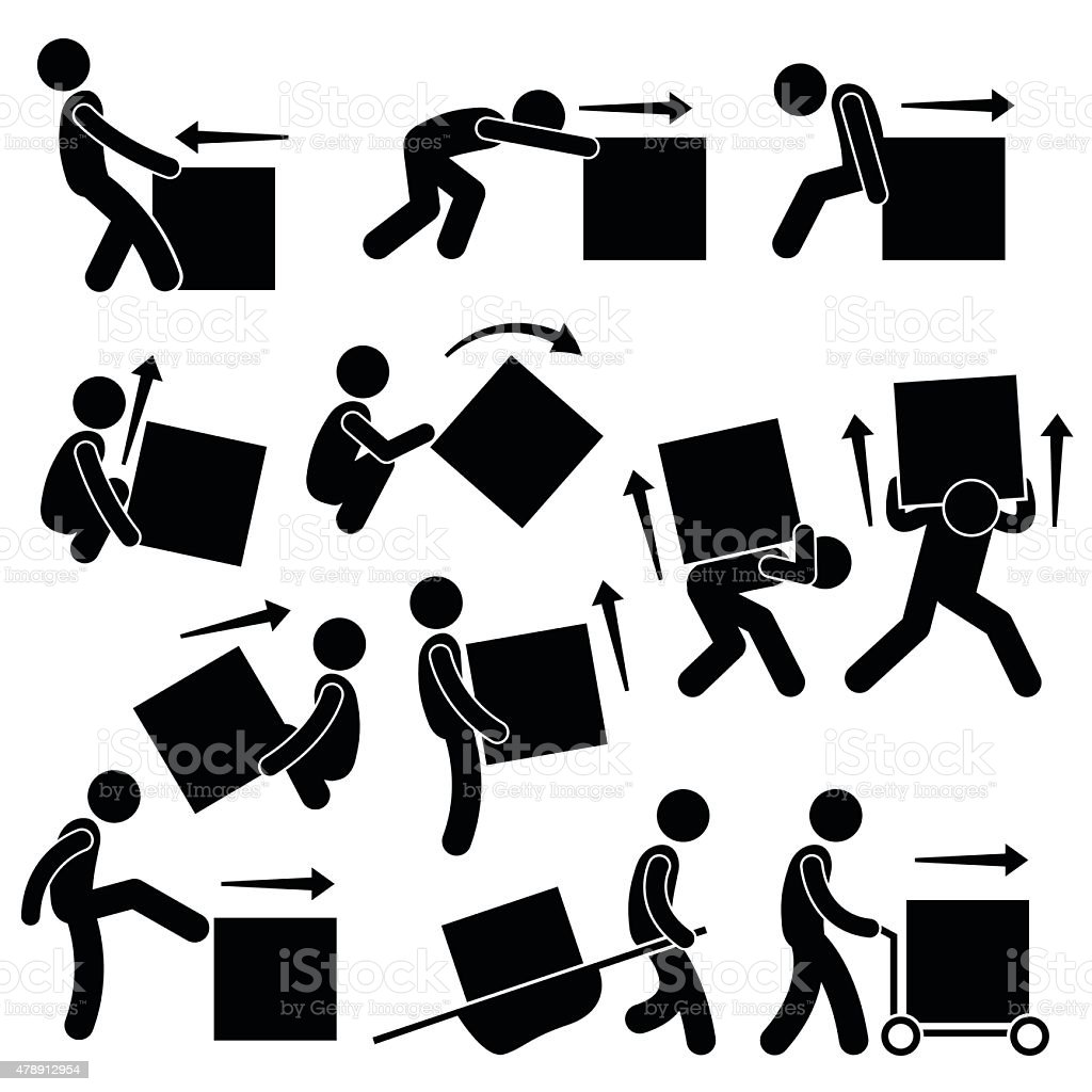 Man Moving Box Actions Postures Stick Figure Pictogram Icons vector art illustration