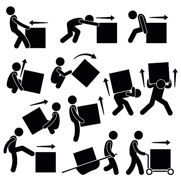 Man Moving Box Actions Postures Stick Figure Pictogram Icons A set of human pictogram representing methods and ways for a man to move a big box. This include many postures and poses such as pull, push, drag, lift, rollover, kick, and moving it with stretcher and cart. image technique stock illustrations