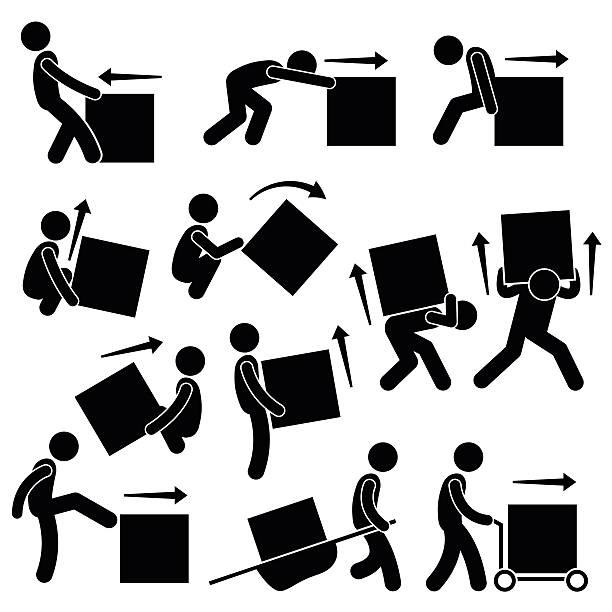 bildbanksillustrationer, clip art samt tecknat material och ikoner med man moving box actions postures stick figure pictogram icons - bär