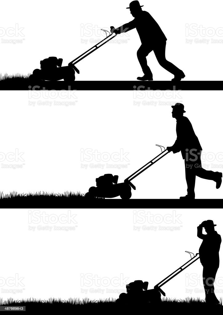 Man Mowing Lawn royalty-free stock vector art