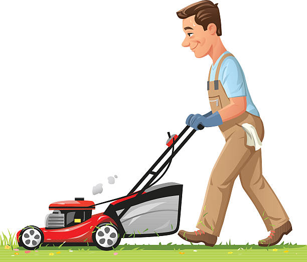 Man Mowing The Lawn vector art illustration