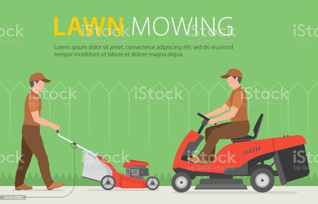 Homme tondre la pelouse avec tondeuse gazon rouge for Tarif pour tondre pelouse