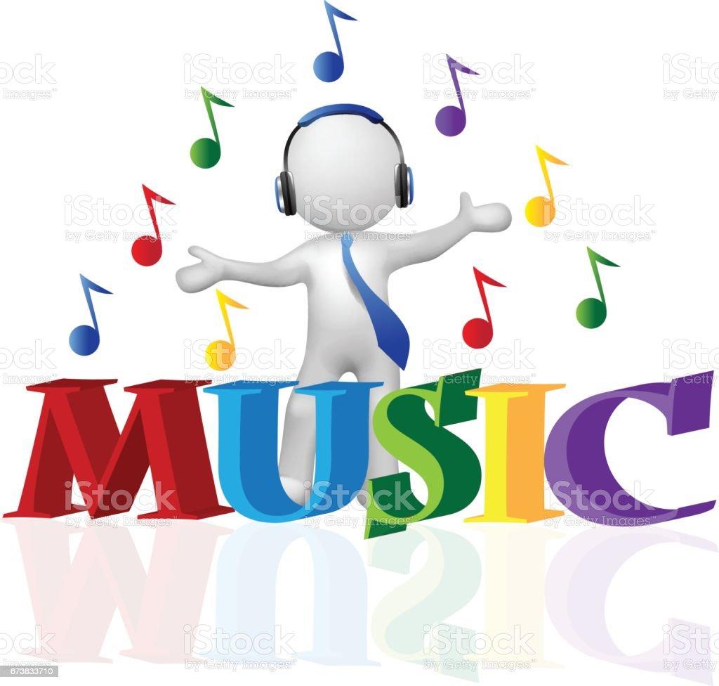 L'homme concept musical 3D symbole vecteur lhomme concept musical 3d symbole vecteur – cliparts vectoriels et plus d'images de abstrait libre de droits