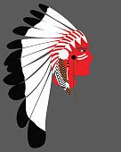 Man Native American Indian chief. silhouette of an indian chief in a national feather headdress  Native American tribal chief's.