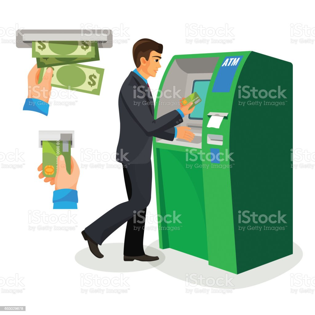 Man near ATM holding credit card and its usage sign vector art illustration