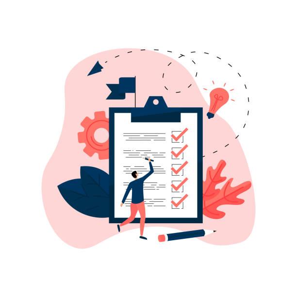 stockillustraties, clipart, cartoons en iconen met man aankondigingen alle voltooide gevallen op een tablet voor papieren. business concept - checklist