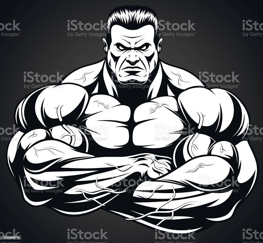 Man of iron vector art illustration