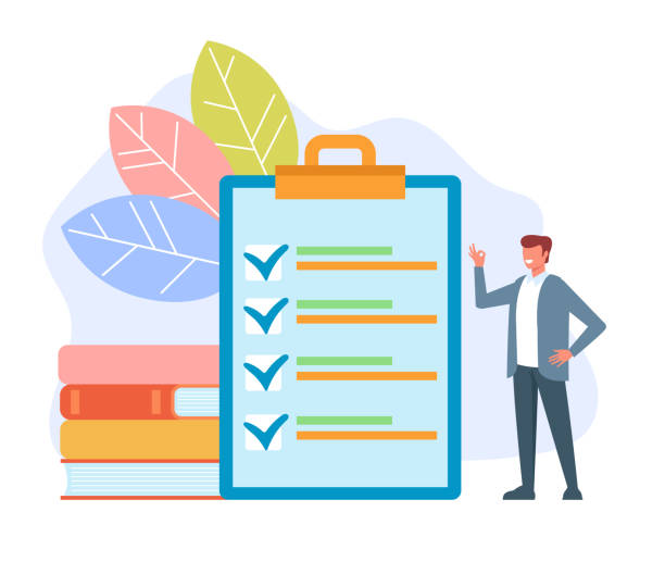 Man office worker businessman making to do list done and showing ok sign. Management concept. Vector flat cartoon graphic design isolated illustration vector art illustration