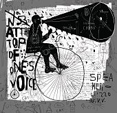 Image of a man who rides a bike and says over the loudspeaker.