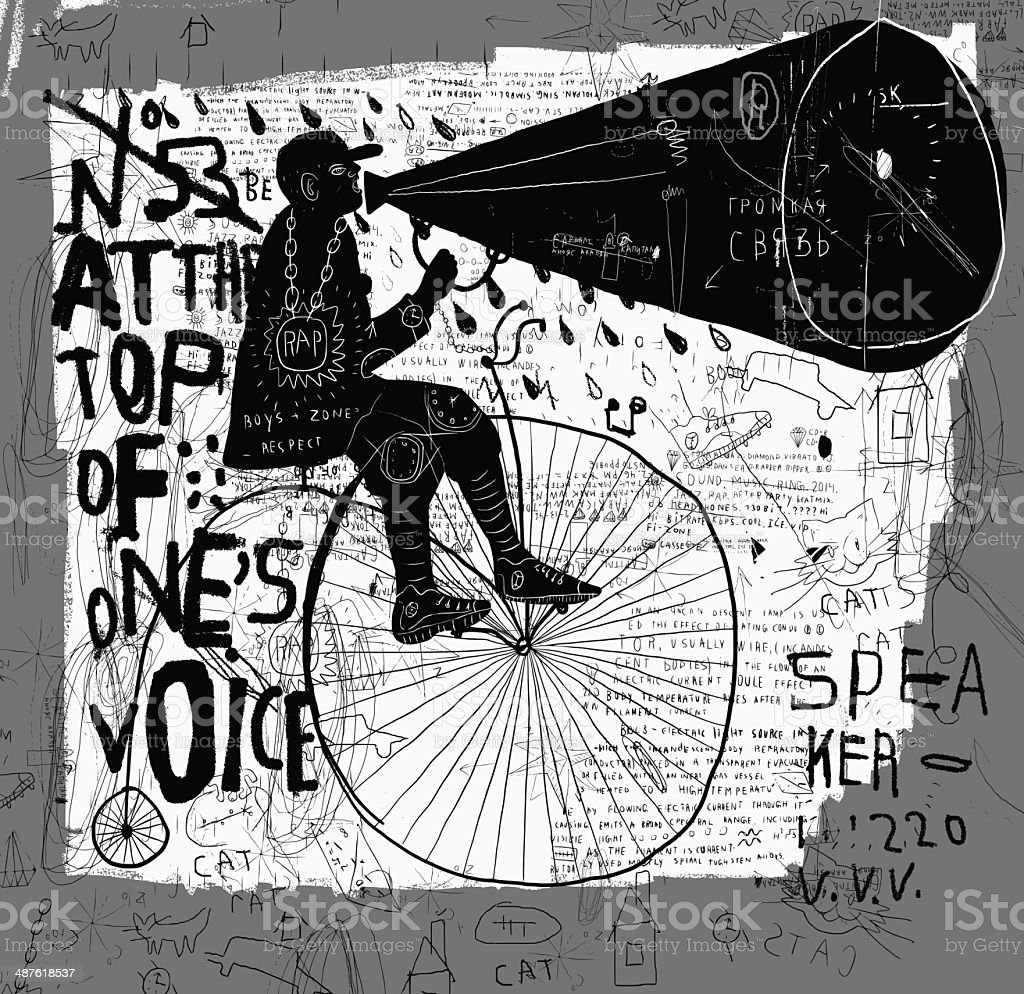 Man on a bicycle vector art illustration