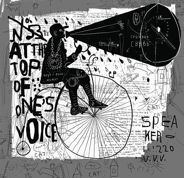 Man on a bicycle Image of a man who rides a bike and says over the loudspeaker. street art stock illustrations