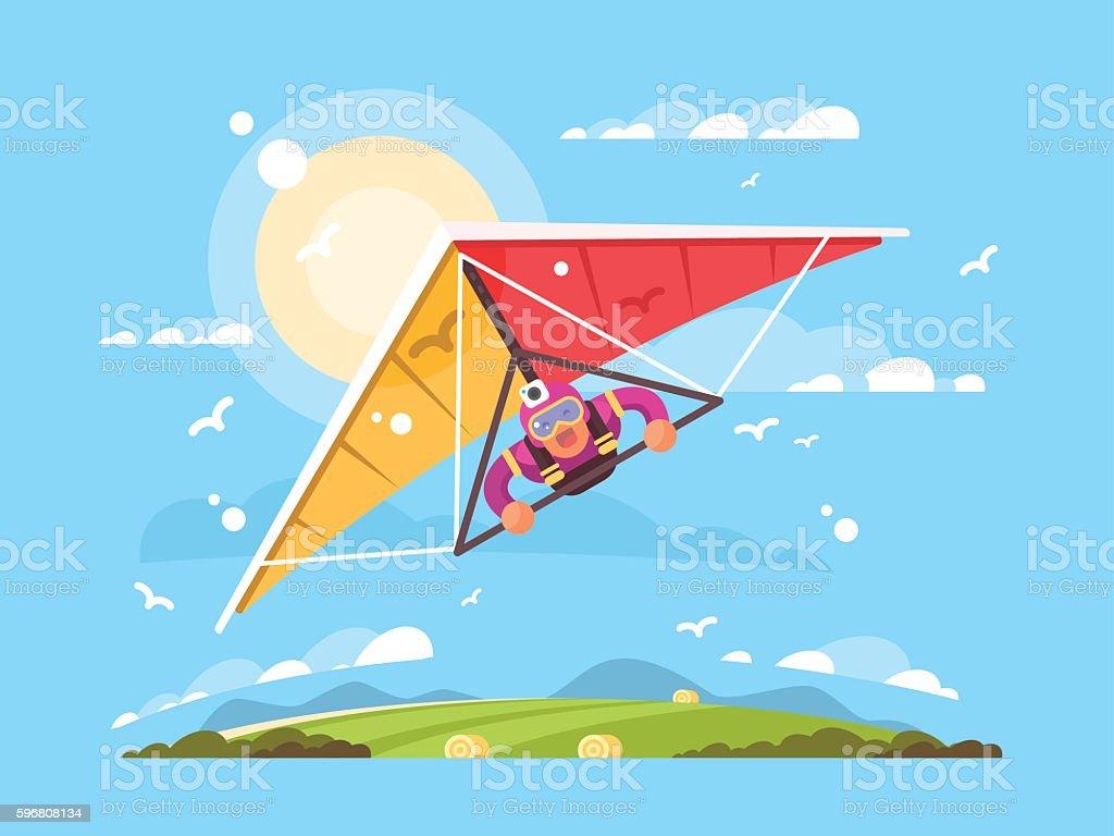 Man on a hang glider vector art illustration