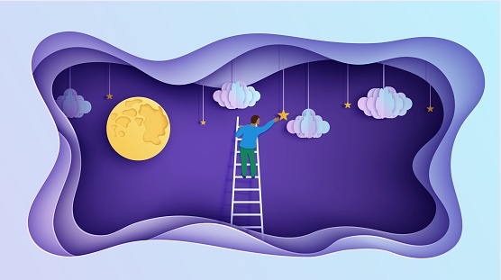 Man on a ladder to pick the star above cloud and moon in paper cut style. Papercut businessman climbing on ladder and trying to catch dream star. Follow your dreams vector motivational poster concept