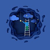 Man on a ladder to pick the star above cloud in paper cut style. Papercut businessman climbing on ladder to sky and trying to catch dream star. Follow your dreams vector motivational poster concept.
