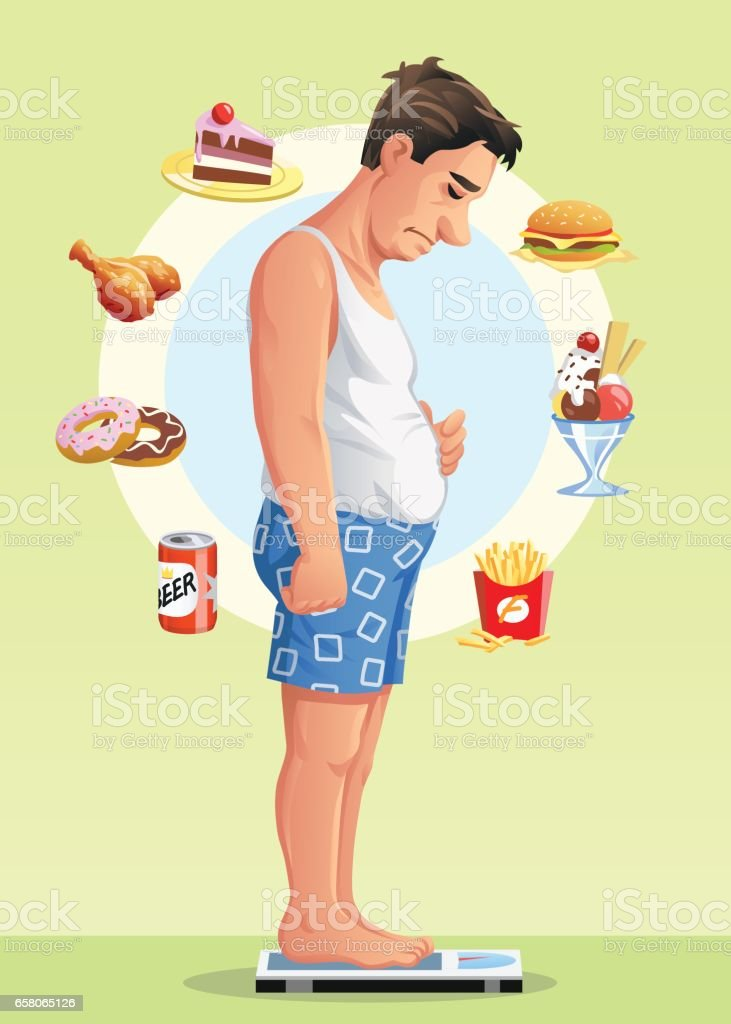 Man On A Scale Deciding To Go On A Diet vector art illustration