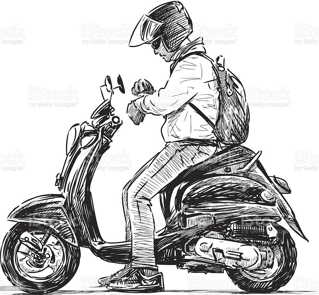 man on a scooter vector art illustration