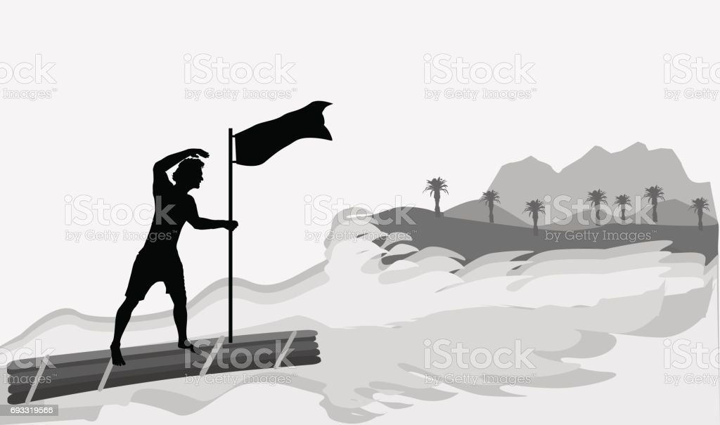 Man on a wooden raft approaching the island vector art illustration