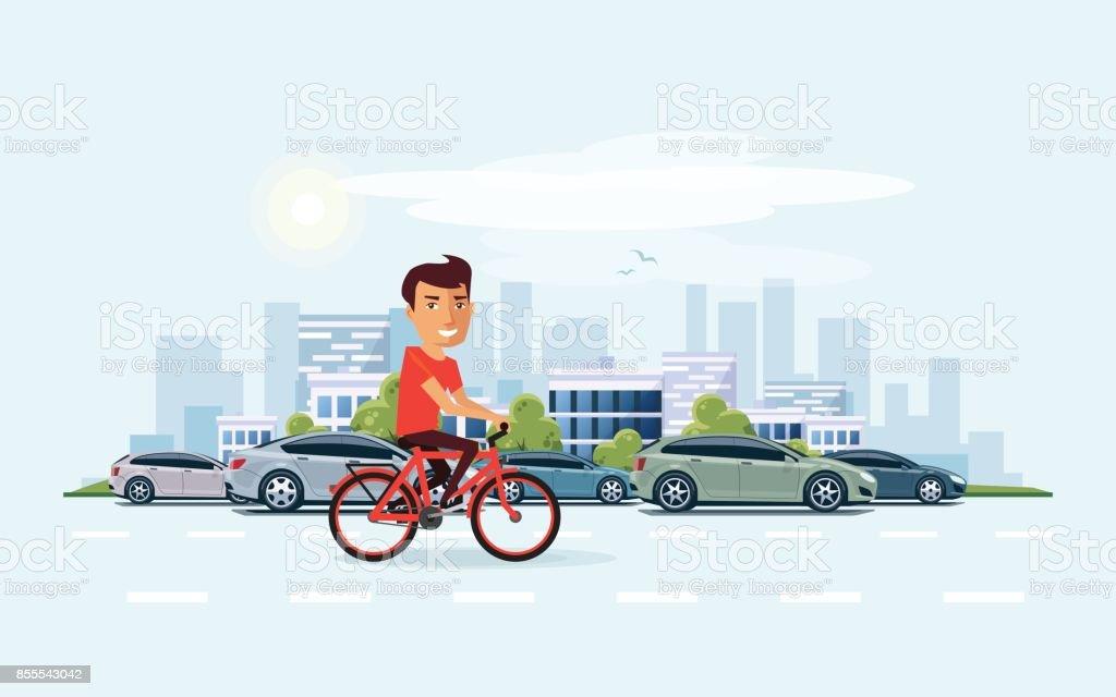 Homem na bicicleta na rua com fundo de Skyline cidade - ilustração de arte em vetor