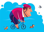 vector illustration of man on bicycle racing with pets