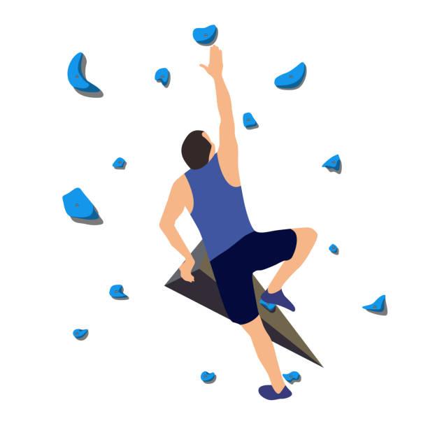 man on climbing wall - rock climbing stock illustrations, clip art, cartoons, & icons