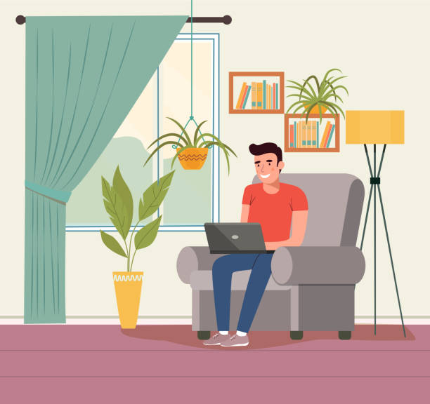 Man on comfortable couch and using laptop at living room.  Vector flat style illustration vector art illustration
