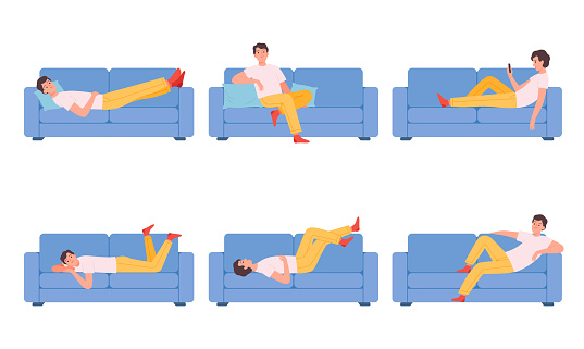 Man on couch. Relaxing different poses characters sitting on sofa person dreaming thinking sleeping nowaday vector cartoon illustrations collection