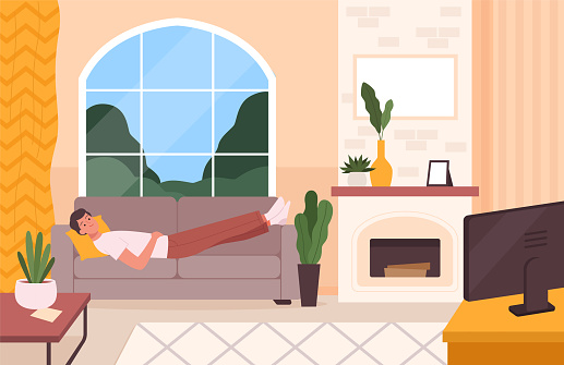 Man on couch. Sofa in living room place for relax in modern interior person alone home sleeping on soft coach nowaday vector background illustration