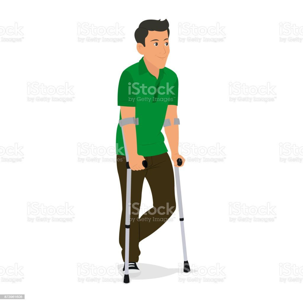 man on crutches isolated on white background. vector art illustration