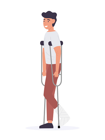 Man on crutches with broken leg in gypsum. Disabled male character during foot bone treatment. Vector illustration of patient with leg injury