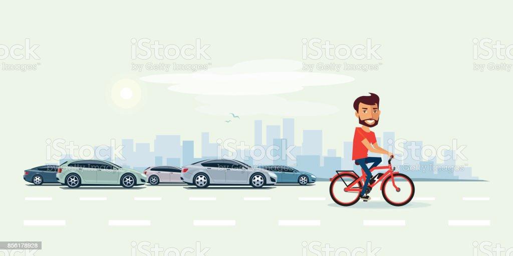 Homem na bicicleta elétrica na rua com carros atrás - ilustração de arte em vetor
