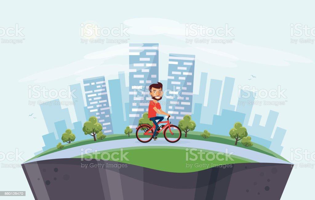 Homem na bicicleta elétrica na rua com fundo de Skyline cidade na globo - ilustração de arte em vetor