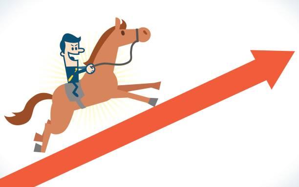 man on horseback running on arrow - グラフ stock illustrations