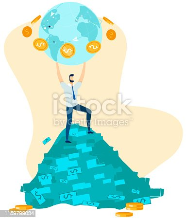 Cartoon Office Male Character, Businessman, Financier on Green Dollars Stack Holds in Hands Globe with Gold Coins around. Global Money Transfer and World Business. Vector Flat Illustration