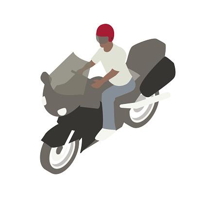 Man on motorcycle illustration