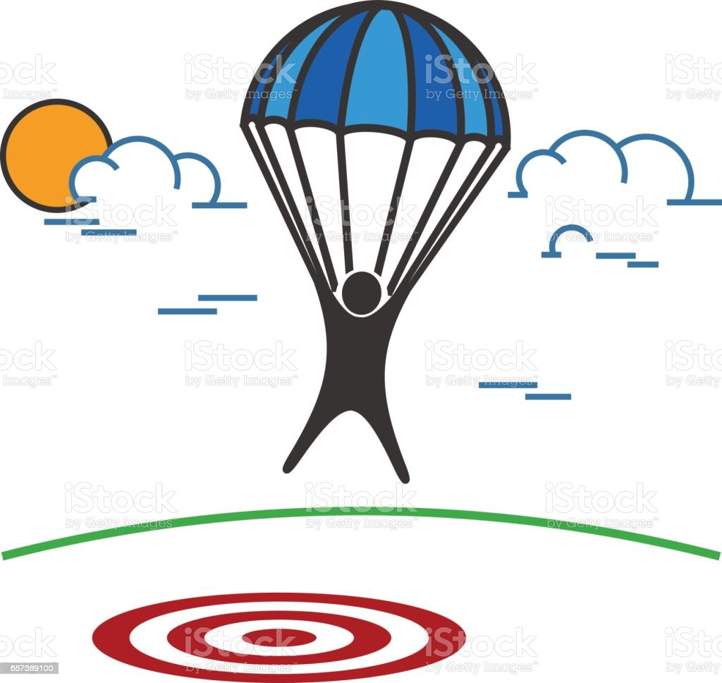 royalty free parachute target clip art vector images rh istockphoto com parachute clipart pictures parachute clipart pictures