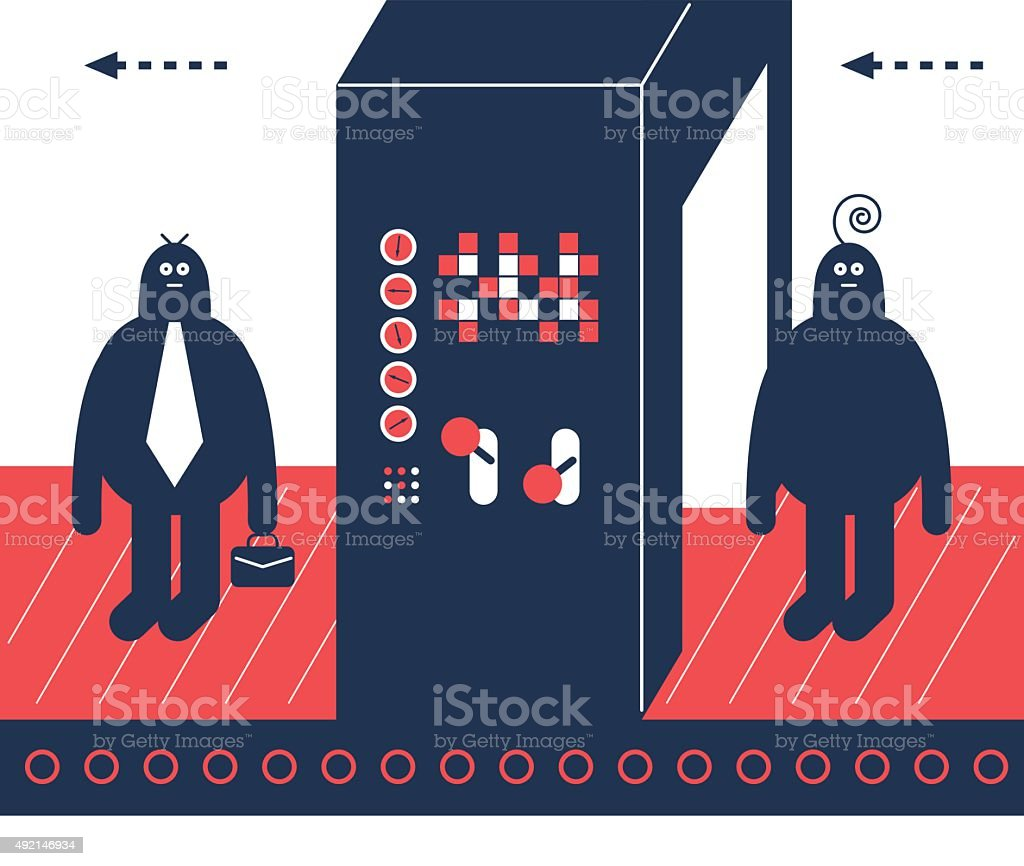 Man on production line, through installation gate, becoming a businessman vector art illustration