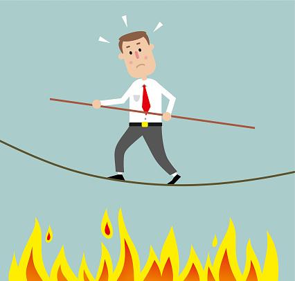 Man on rope stock illustration