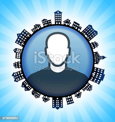 Man on Rural Cityscape Skyline Background