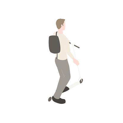 Man on scooter illustration