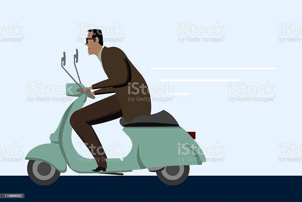 Man on scooter vector art illustration