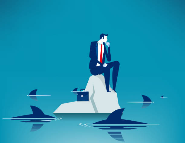 Man on sea surrounded by sharks. Concept business anxiety vector illustration, Trapped vector art illustration