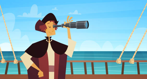 man on ship with spyglass happy columbus day national usa holiday concept - columbus day stock illustrations