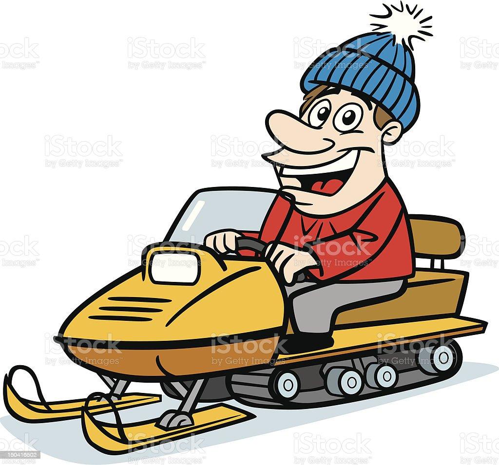 Man On Snowmobile vector art illustration