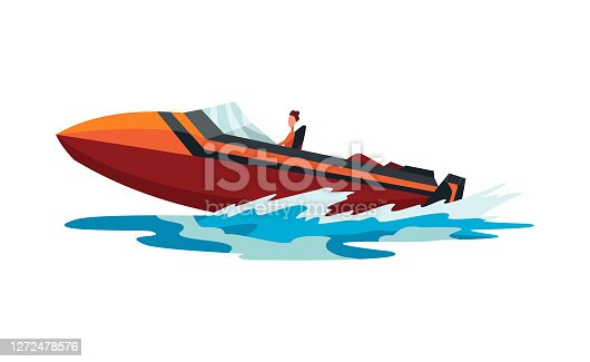 istock Man on speed motorboat. Sea or river vehicle. Sport nautical summer transportation. Motorized water vessel on sea water waves. Isolated on white background 1272478576