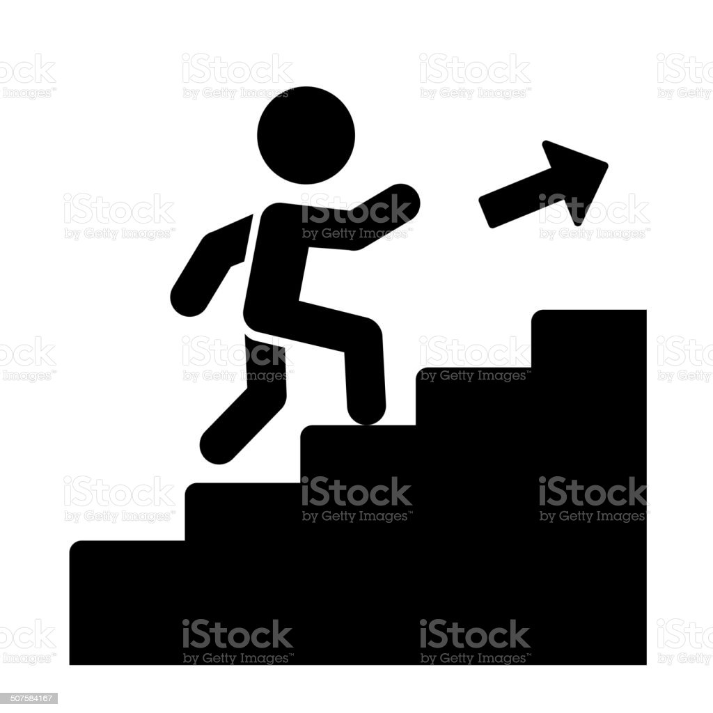 Man on Stairs Going Up Icon. Vector vector art illustration