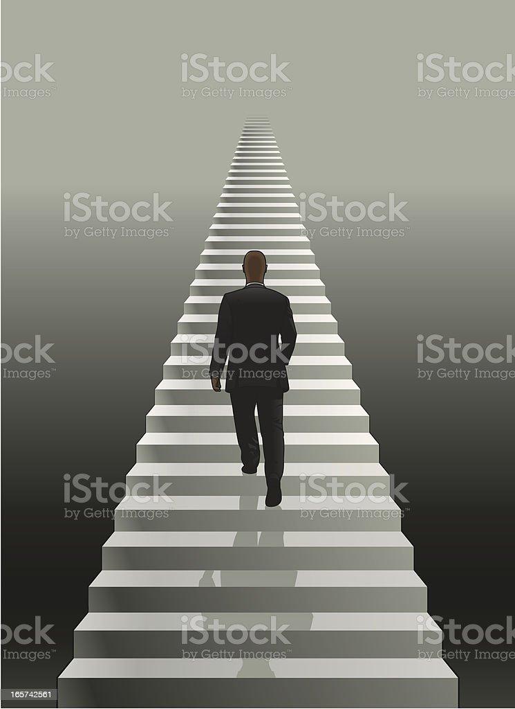 Man on stairs vector art illustration