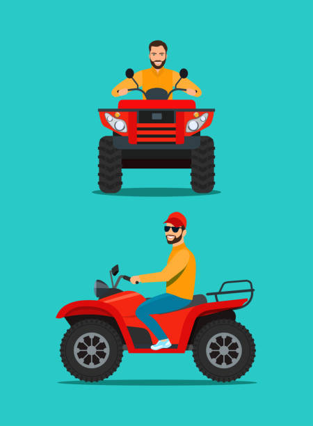 Man on the ATV motorcycle isolated. Front and side view. Vector flat style illustration Man on the ATV motorcycle isolated. Front and side view. Vector flat style illustration quadbike stock illustrations