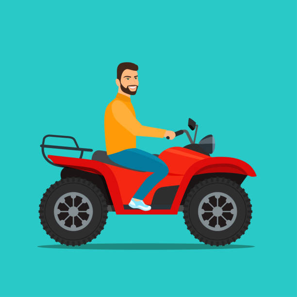 Man on the ATV motorcycle isolated. Vector flat style illustration Man on the ATV motorcycle isolated. Vector flat style illustration quadbike stock illustrations