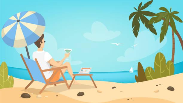mann am strand entspannen. - sonnenstuhl stock-grafiken, -clipart, -cartoons und -symbole