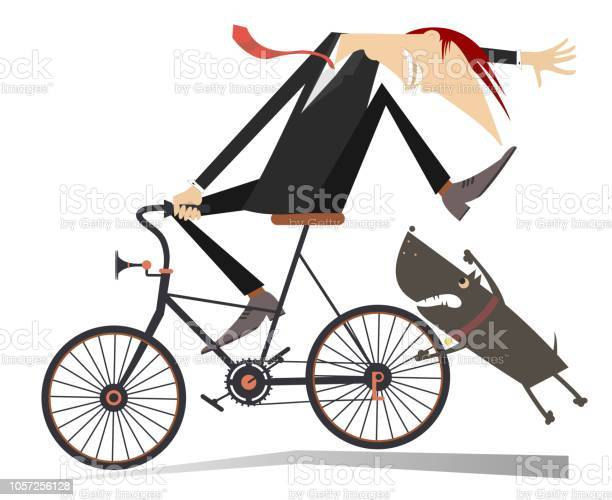 Man on the bicycle and aggressive dog illustration vector id1057256128?b=1&k=6&m=1057256128&s=612x612&h=fb4oehwmfbwyzil9c0uulfcmqddrancydz3jbk2nony=